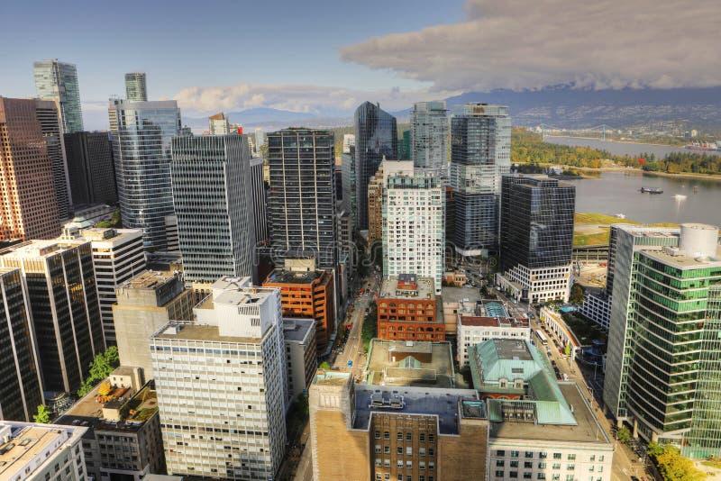 Vogelperspektive des Vancouvers, Kanada Stadtzentrum lizenzfreies stockfoto