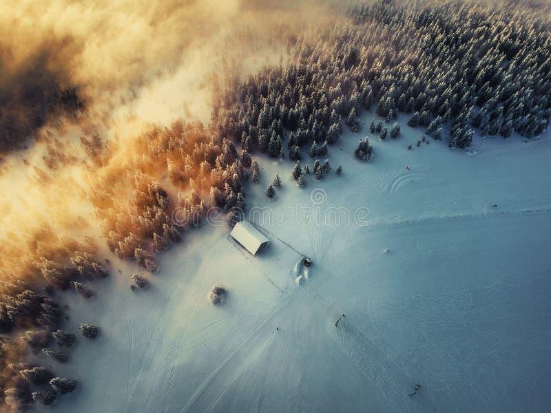 Vogelperspektive des Winterhintergrundes mit einem Schnee bedeckten Wald lizenzfreies stockbild