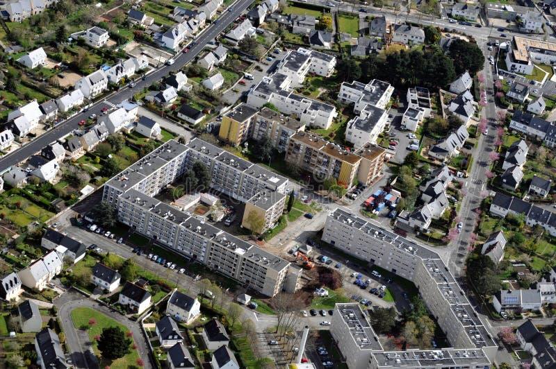Vogelperspektive eines Bezirkes der Stadt von Vannes lizenzfreies stockbild
