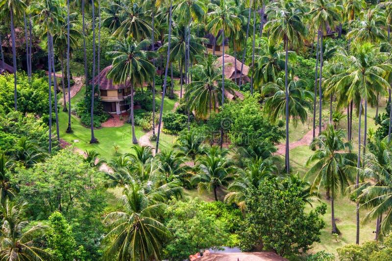 Vogelperspektive eines tropischen Erholungsortes lizenzfreies stockbild
