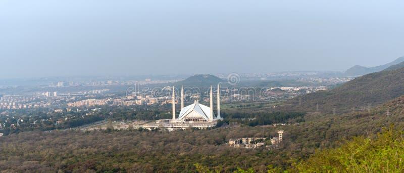 Vogelperspektive Faisals-Moschee Islamabad lizenzfreies stockbild