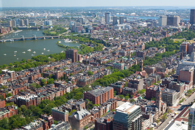 Vogelperspektive im Stadtzentrum gelegenen vernünftigen Turms Bostons, USA lizenzfreies stockbild