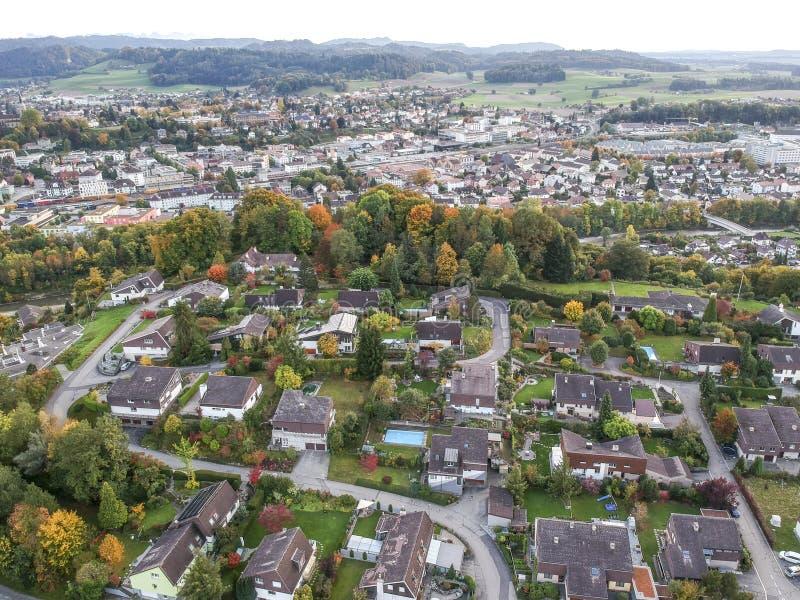 Vogelperspektive ländlichen Dorfs Mitteleuropas lizenzfreie stockfotografie