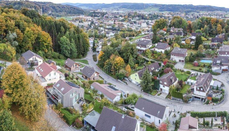 Vogelperspektive ländlichen Dorfs Mitteleuropas stockfoto