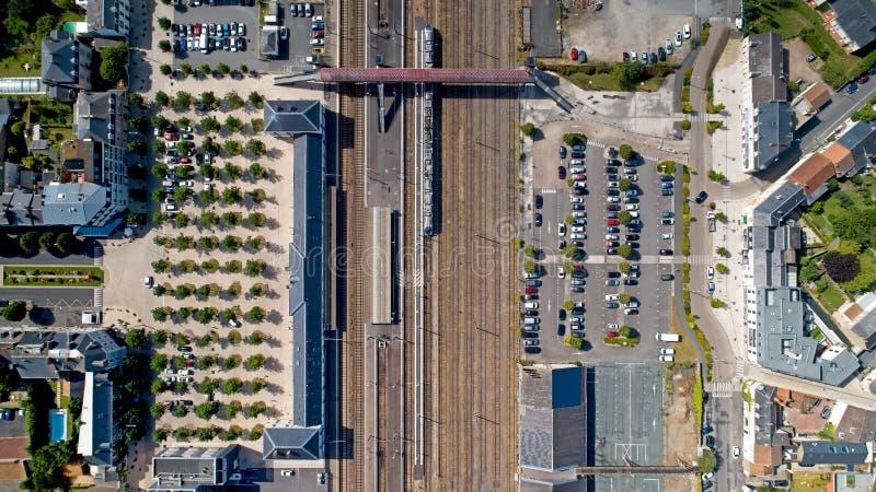 Vogelperspektive La Roche sur Yon Bahnhofs stockfotos
