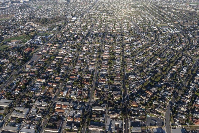 Vogelperspektive-südliche Kalifornien-Südbucht-Wohnung lizenzfreie stockfotografie