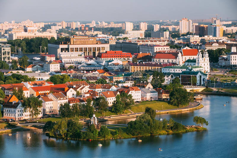 Vogelperspektive, Stadtbild von Minsk, Weißrussland stockfotos