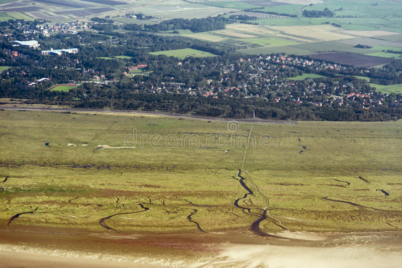 Vogelperspektive vom Schleswig-Holstein Wattenmeer-Nationalpark stockfotografie