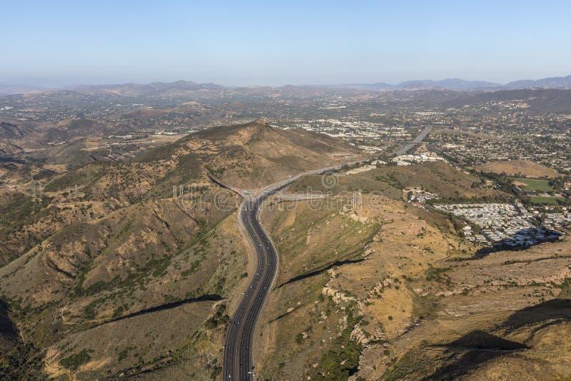 Vogelperspektive von Autobahn Venturas 101 in Newbury Park Kalifornien lizenzfreie stockfotos
