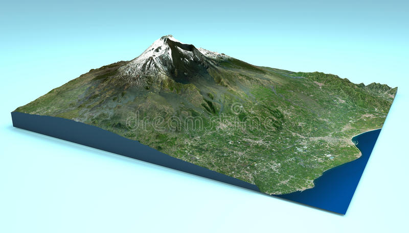 Vogelperspektive von Berg-Etna Sicily-Karte lizenzfreie abbildung