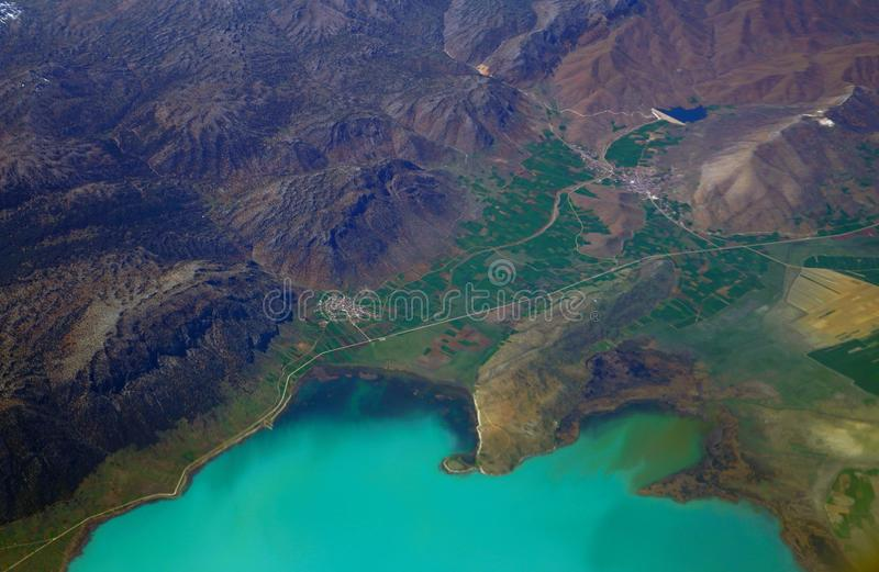Vogelperspektive von beysehir See in Konya, die Türkei lizenzfreie stockbilder