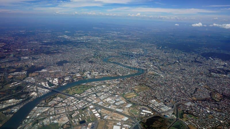 Vogelperspektive von Brisbane-Stadt und von Umgebung Queensland Australien lizenzfreies stockbild