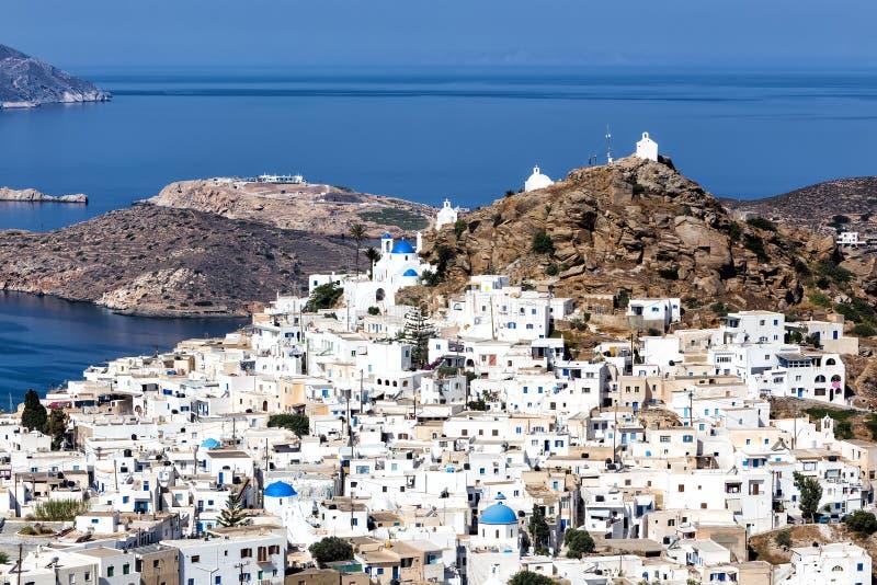 Vogelperspektive von Chora-Stadt, IOS-Insel, die Kykladen, ägäisch, Griechenland lizenzfreie stockfotografie