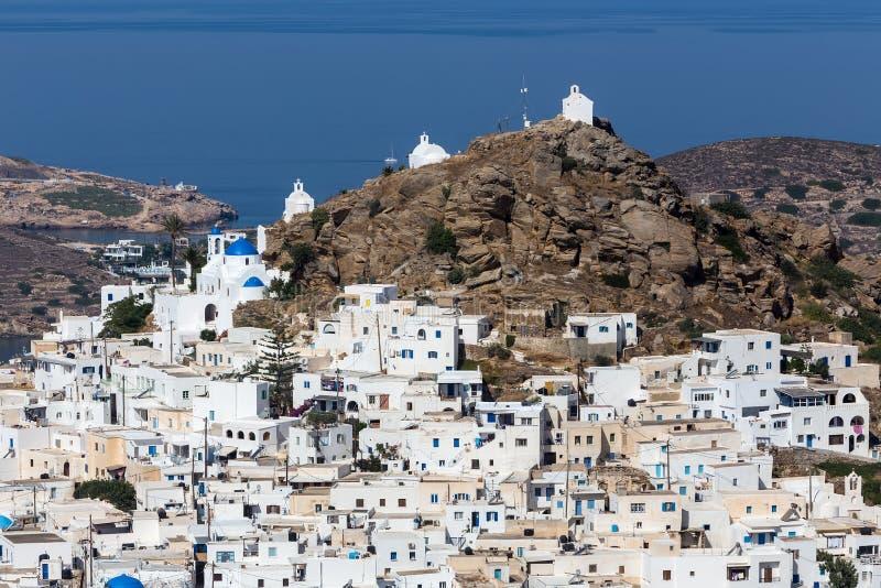Vogelperspektive von Chora-Stadt, IOS-Insel, die Kykladen, ägäisch, Griechenland lizenzfreies stockbild