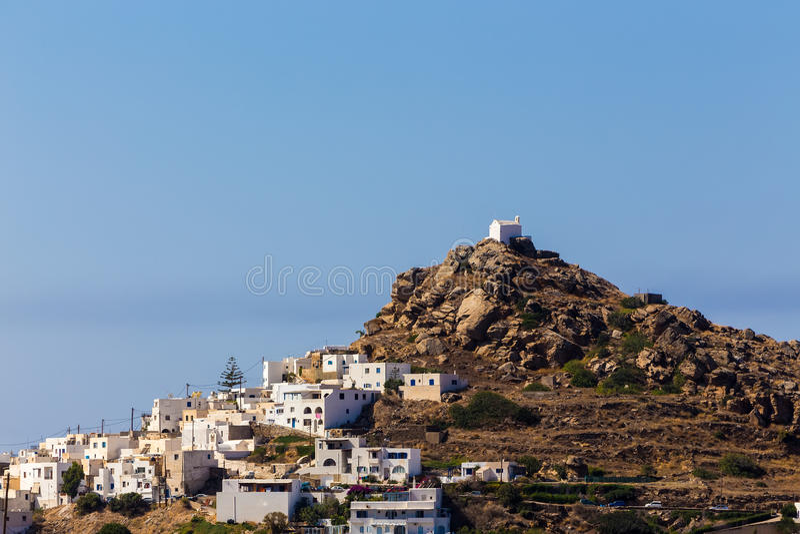 Vogelperspektive von Chora-Stadt, IOS-Insel, die Kykladen, ägäisch, Griechenland lizenzfreie stockbilder