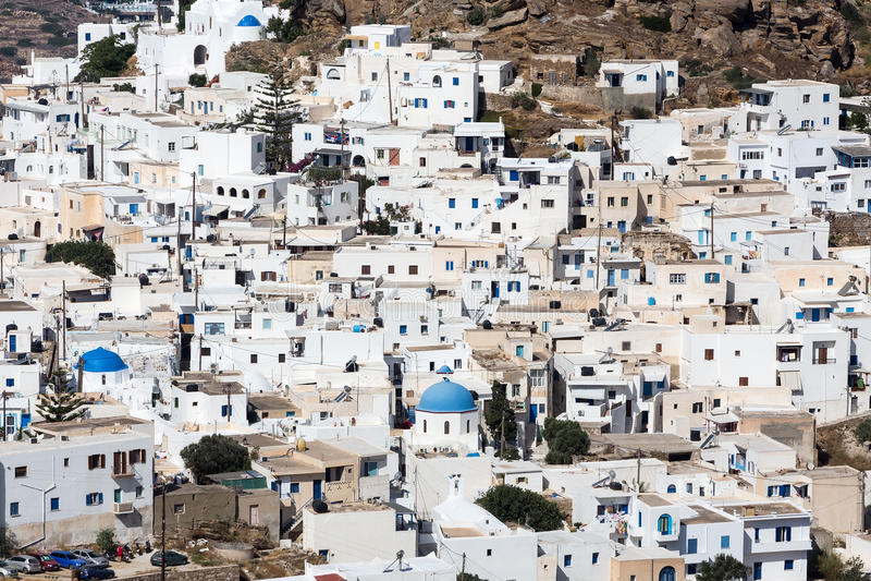 Vogelperspektive von Chora-Stadt, IOS-Insel, die Kykladen, ägäisch, Griechenland stockbild