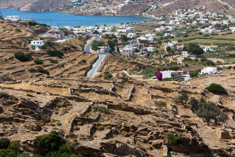 Vogelperspektive von Chora-Stadt, IOS-Insel, die Kykladen, ägäisch, Griechenland lizenzfreies stockfoto