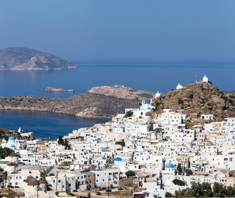 Vogelperspektive von Chora-Stadt, IOS-Insel, die Kykladen, ägäisch, Griechenland stockfotografie