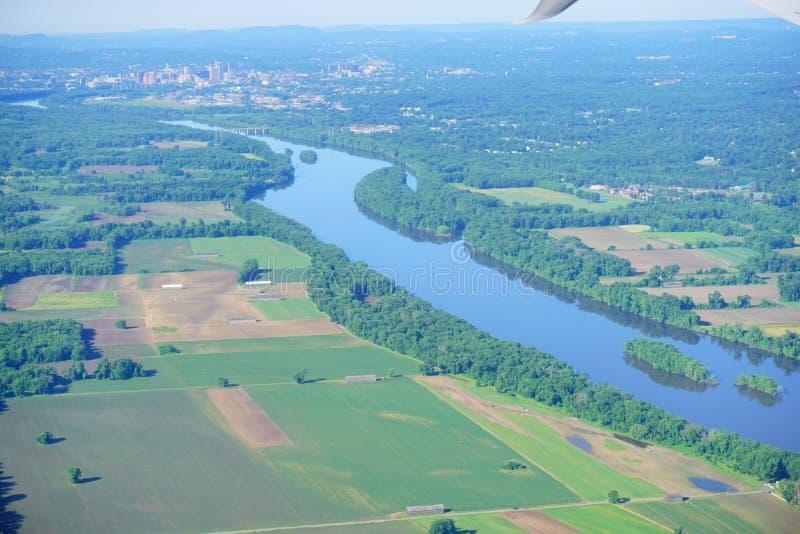 Vogelperspektive von Connecticut River lizenzfreie stockfotografie