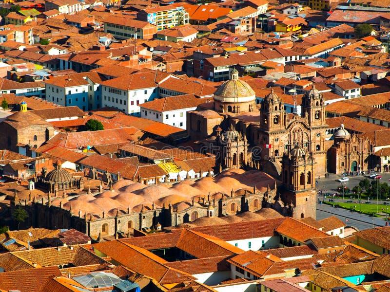 Vogelperspektive von Cusco-Kathedrale stockfoto