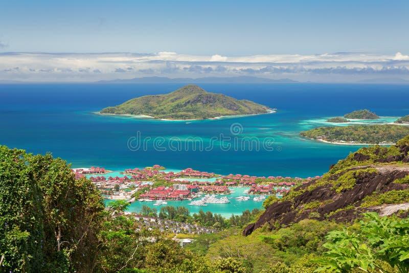 Vogelperspektive von Eden-Insel, Mahe, Seychellen stockfoto