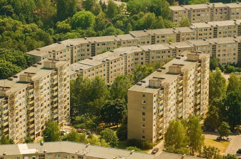 Vogelperspektive von Fertighäusern in Lazdynai, Vilnius, Litauen stockbilder