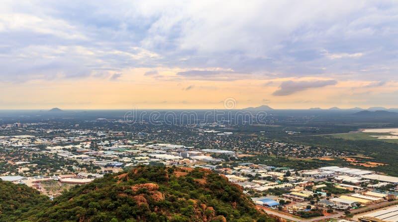 Vogelperspektive von Gaborone-Stadt schnell ausbreiten verbreitete heraus über t stockfoto