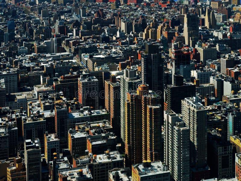 Vogelperspektive von Gebäuden im Stadtzentrum gelegenes Manhattan New York City USA oder Amerika lizenzfreies stockbild