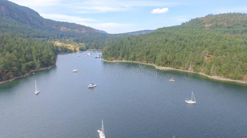 Vogelperspektive von Genoa Bay, Victoria Island - Britisch-Columbia lizenzfreie stockfotos