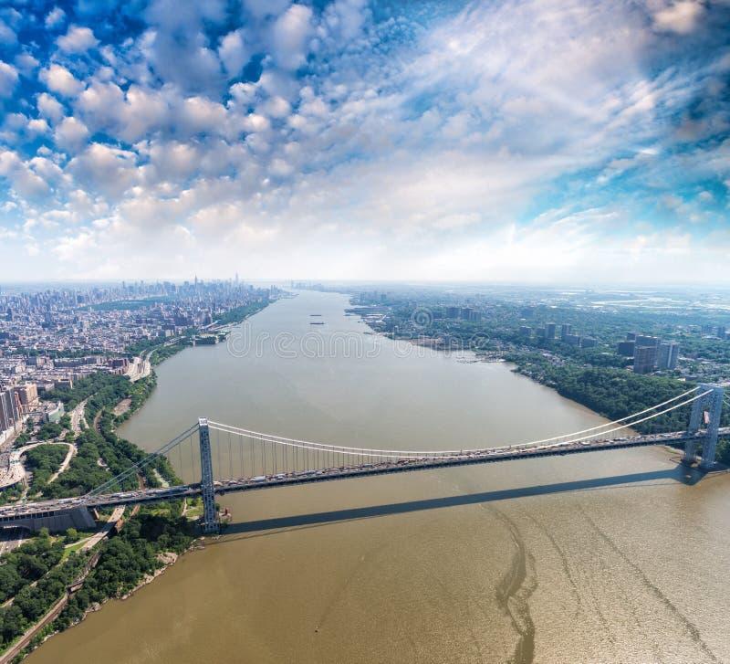 Vogelperspektive von George Washington Bridge in New York City lizenzfreie stockfotografie