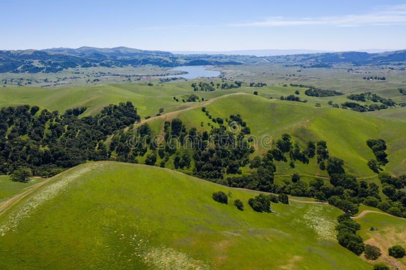 Vogelperspektive von grünen Hügeln im Drei-Tal, Nord-Kalifornien lizenzfreies stockbild