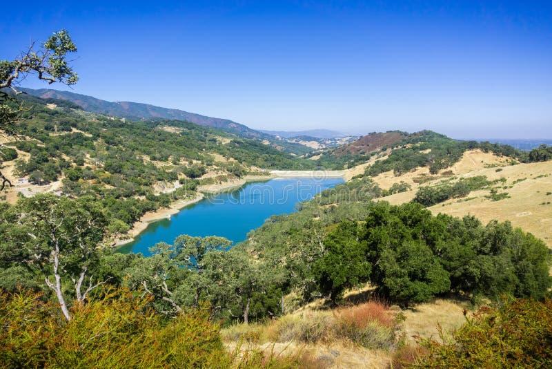Vogelperspektive von Guadalupe Reservoir, San- Francisco Baybereich lizenzfreie stockfotos