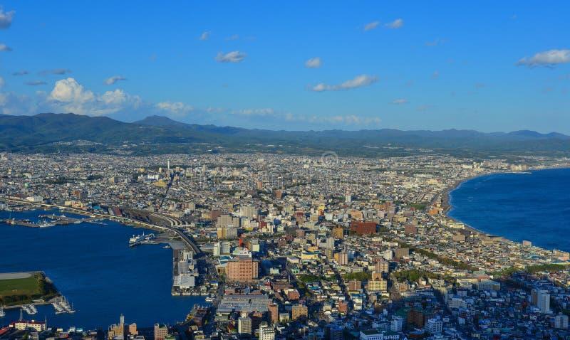 Vogelperspektive von Hakodate-Stadt, Hokkaido, Japan lizenzfreies stockbild