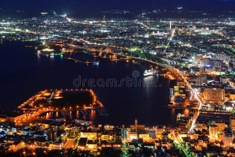 Vogelperspektive von Hakodate-Stadt, Hokkaido, Japan stockfotos