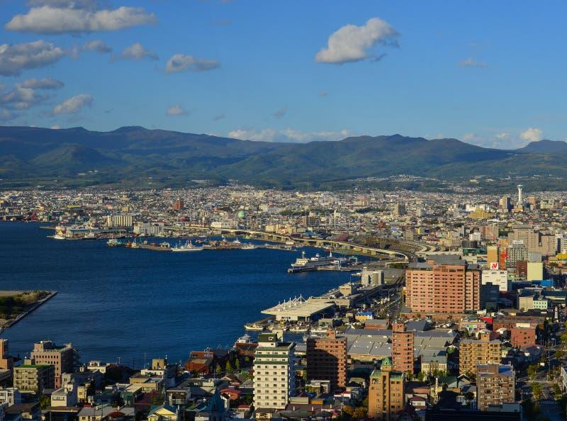 Vogelperspektive von Hakodate-Stadt, Hokkaido, Japan lizenzfreie stockfotografie