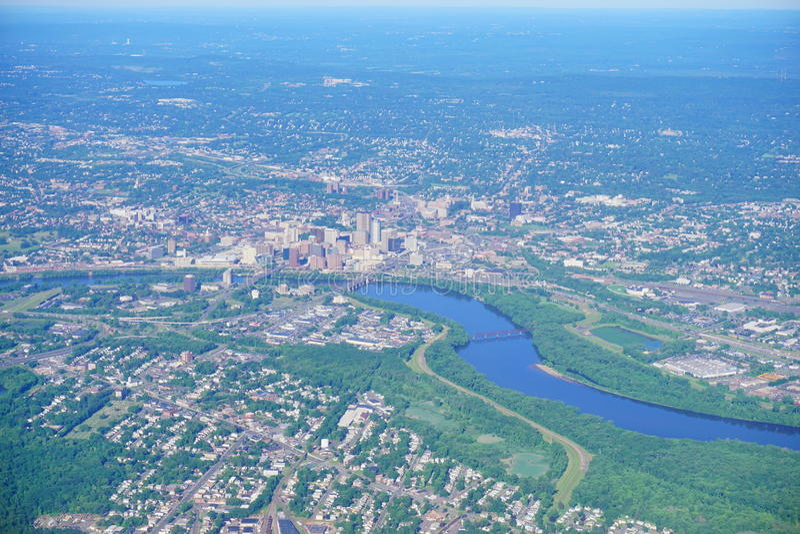 Vogelperspektive von Hartford-Stadt stockfoto