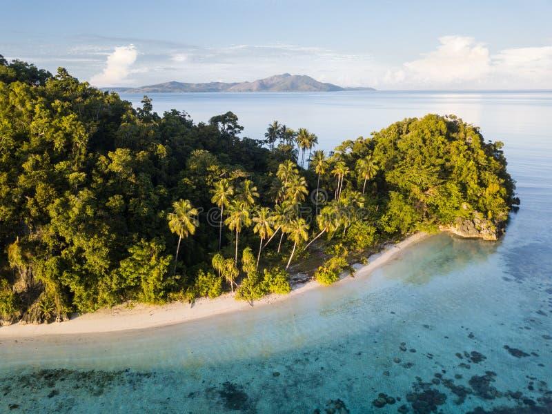 Vogelperspektive von idyllischer Insel und von Strand in Raja Ampat stockfotos