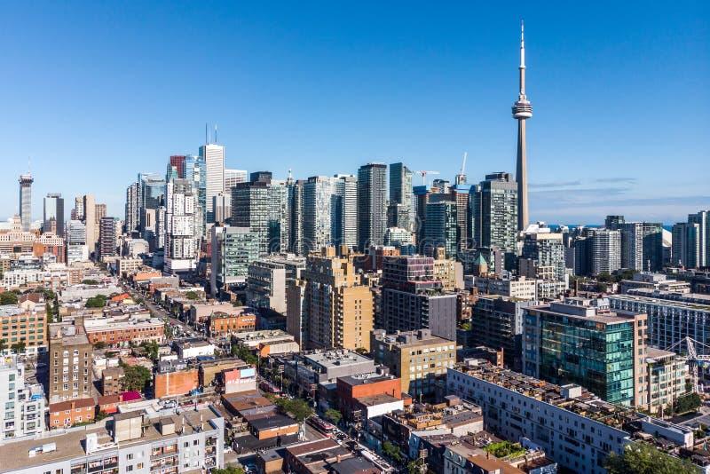 Vogelperspektive von im Stadtzentrum gelegenem Toronto, Ontario, Kanada stockfotos