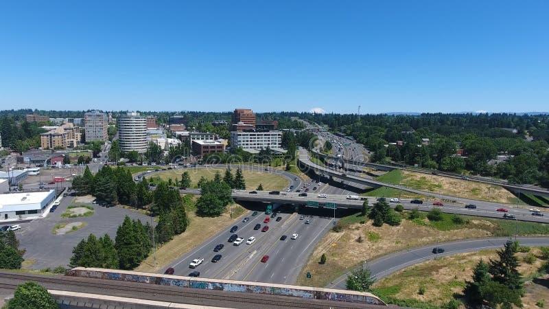 Vogelperspektive von im Stadtzentrum gelegenem Vancouver Washington stockfoto