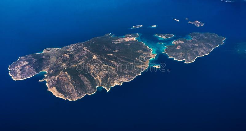 Vogelperspektive von K?sten von Griechenland stockbild