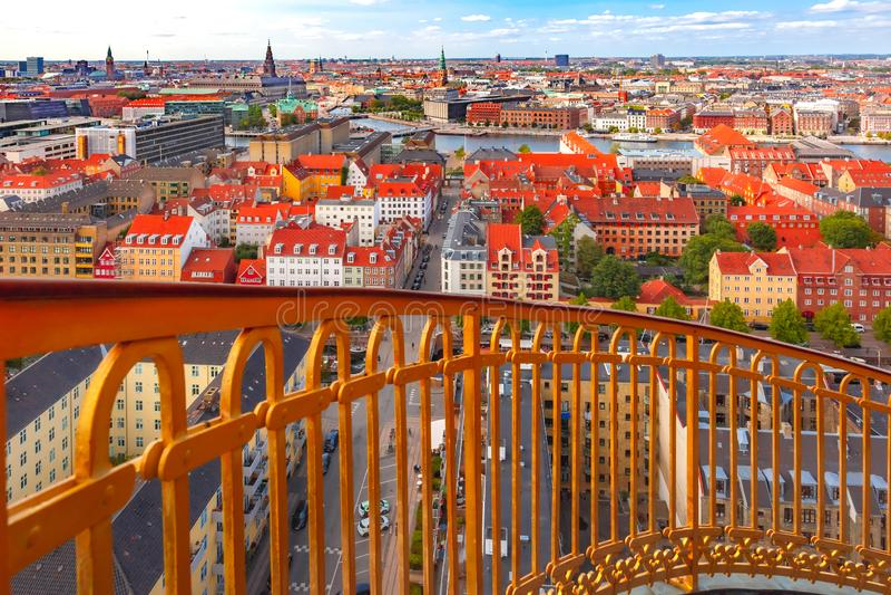 Vogelperspektive von Kopenhagen, Dänemark lizenzfreies stockbild