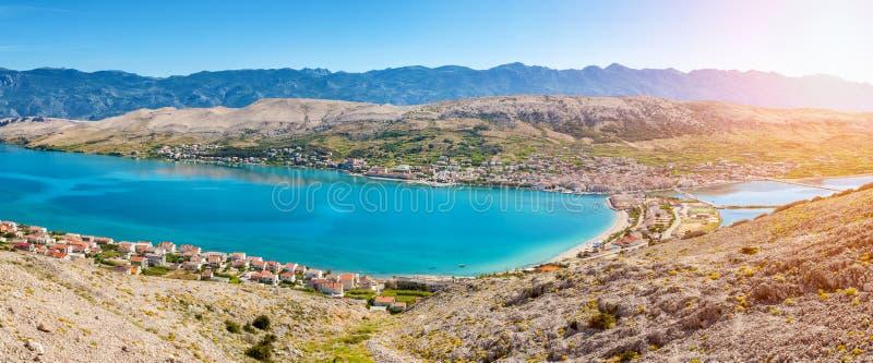 Vogelperspektive von kroatischer Insel von PAG lizenzfreie stockfotos