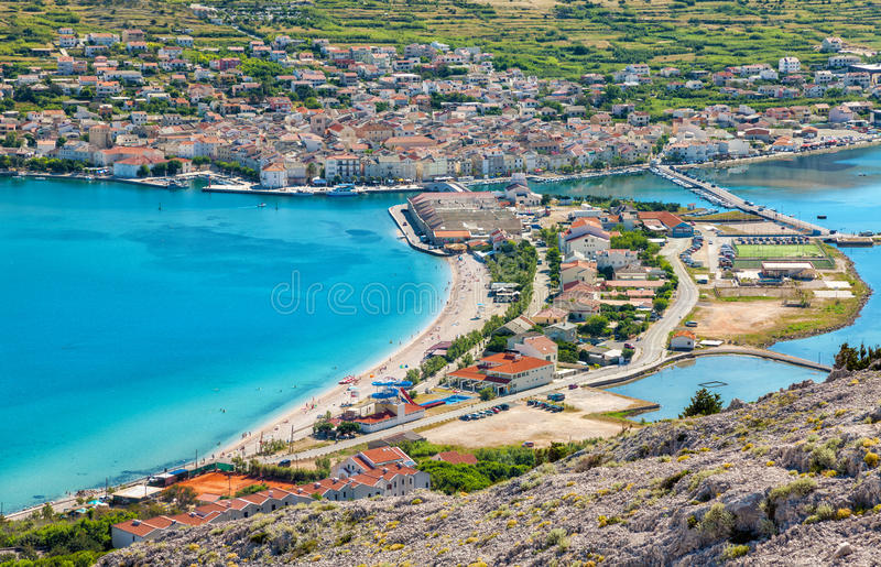 Vogelperspektive von kroatischer Insel von PAG stockfotografie