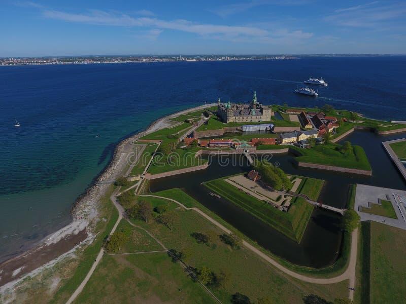 Vogelperspektive von Kronborg-Schloss, Dänemark lizenzfreie stockbilder