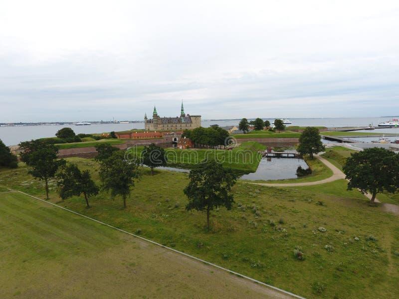 Vogelperspektive von Kronborg-Schloss, Dänemark lizenzfreies stockbild