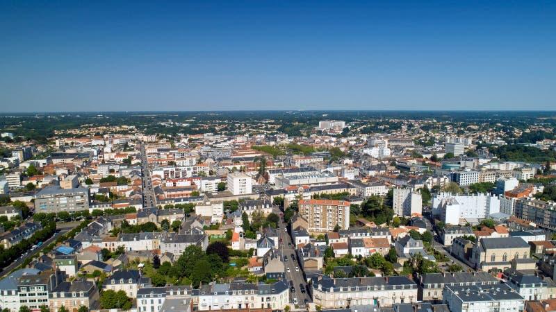Vogelperspektive von La Roche sur Yon Stadt im Vendee lizenzfreies stockfoto
