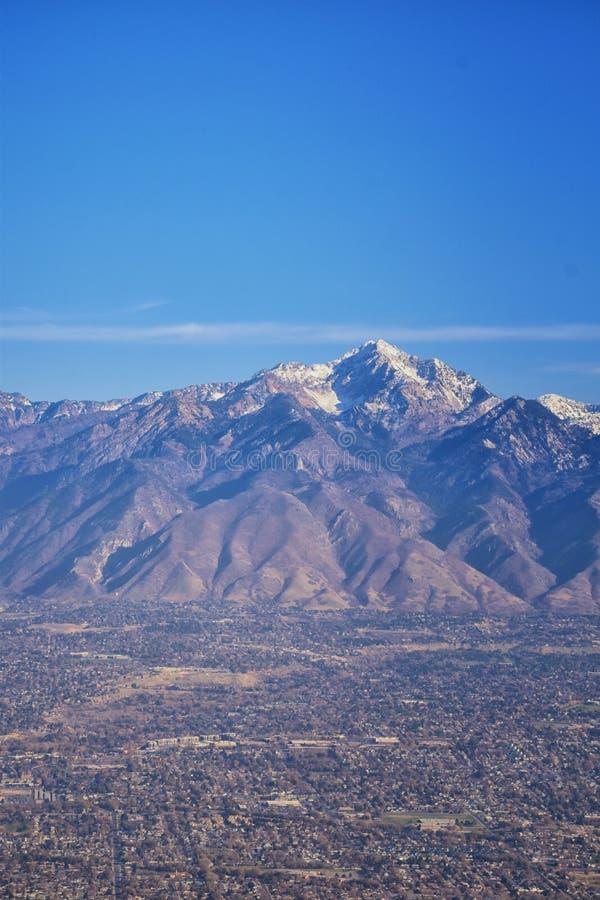 Vogelperspektive von Landschaften Wasatch Front Rocky Mountain auf Flug über Colorado und Utah während des Winters Großartige aus lizenzfreie stockbilder