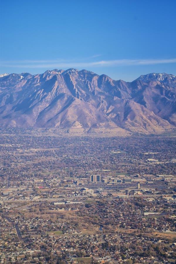 Vogelperspektive von Landschaften Wasatch Front Rocky Mountain auf Flug über Colorado und Utah während des Winters Großartige aus lizenzfreies stockfoto