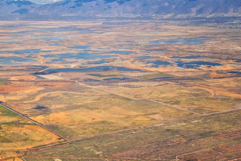 Vogelperspektive von Landschaften Wasatch Front Rocky Mountain auf Flug über Colorado und Utah während des Winters Großartige aus lizenzfreie stockfotos