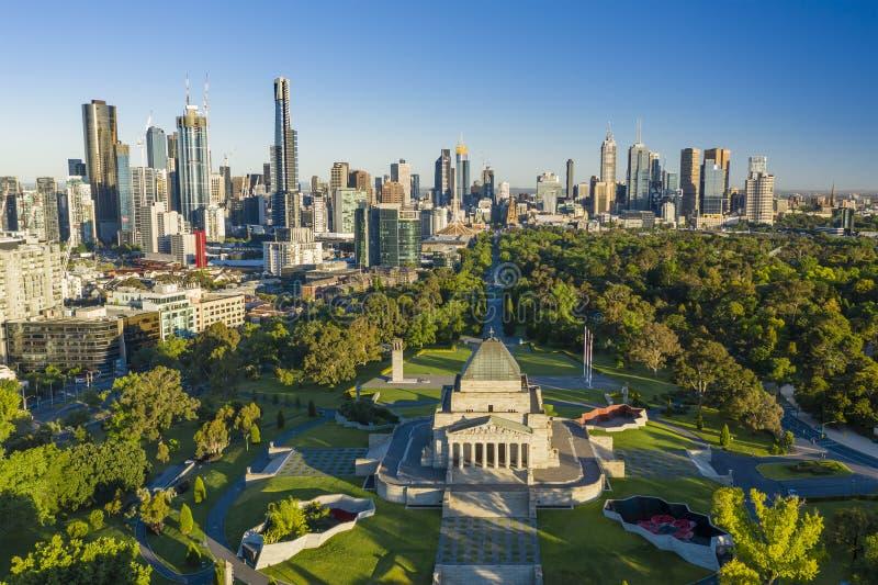 Vogelperspektive von Melbourne CBD stockfotografie